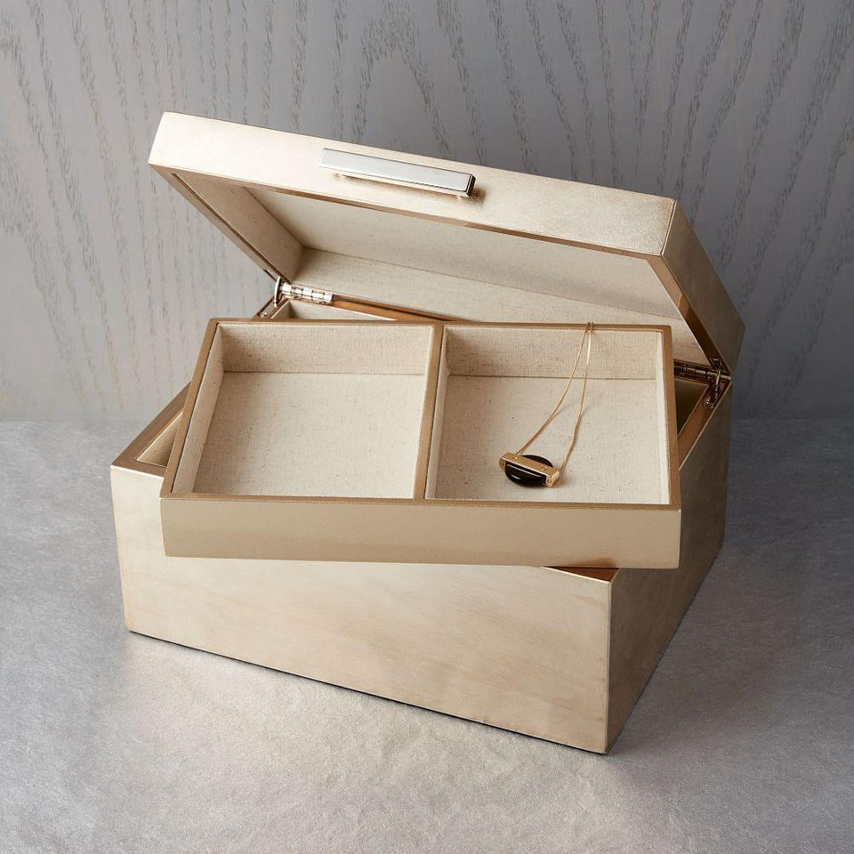 Mid-Century Jewellery Box - Large (Champagne Lacquer)