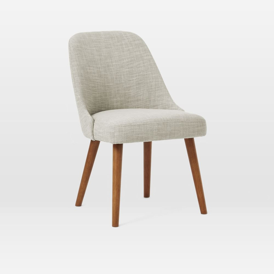 Mid-Century Upholstered Dining Chair - Wooden Legs