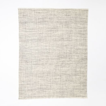 Mid-Century Heathered Basketweave Wool Rug - Steel