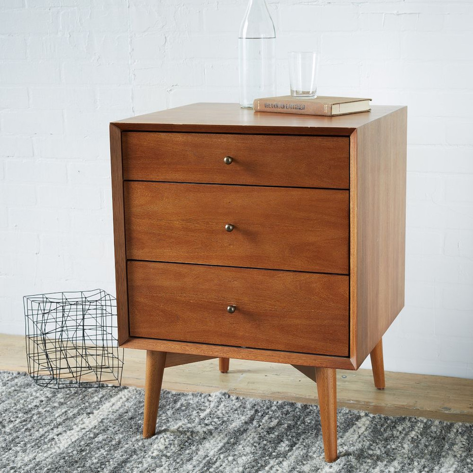 Mid Century 3-Drawer Side Table - Acorn