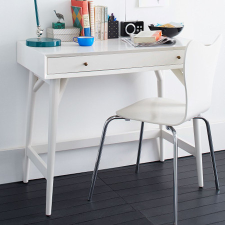 Mid-Century Mini Desk - White