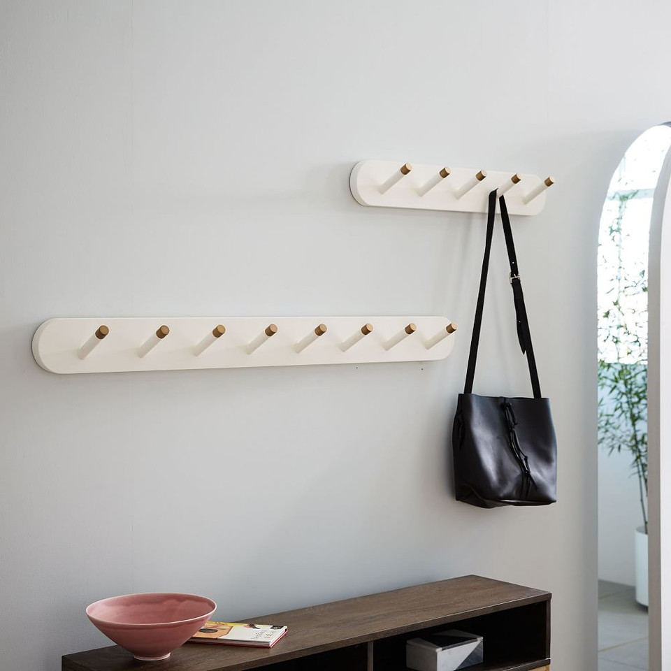 Mid-Century Hook Rack - White