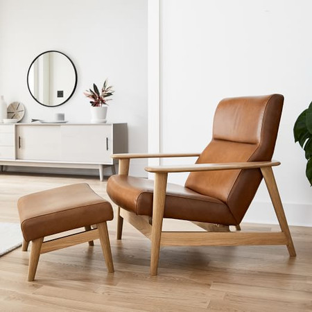 Mid-Century Show Wood High-Back Leather Chair