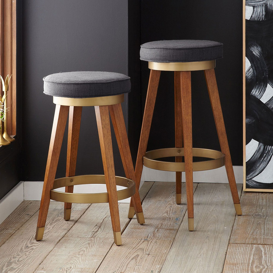 Mid Century Modern Bed Furniture: Mid - Century Swivel Bar + Counter Stool