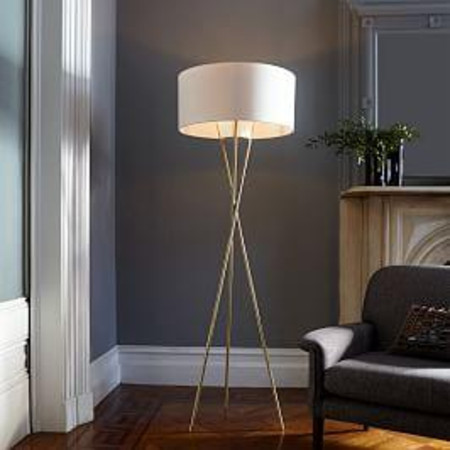 Mid-Century Tripod Floor Lamp - Antique Brass