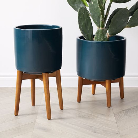 Mid-Century Turned Wood Leg Planters - Dark Teal