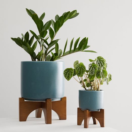 Mid-Century Turned Wood Tabletop Planters - Petrol Blue