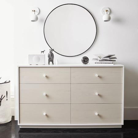 Milo 6-Drawer Dresser - Pebble / White