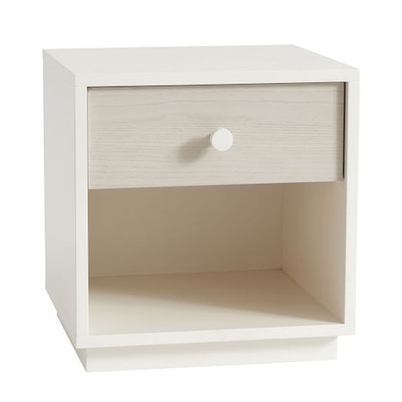 Milo Bedside Table - Pebble / White