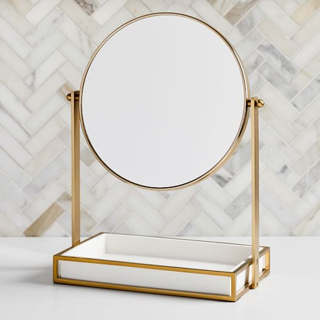 Modern Resin Stone Vanity Mirror - Brass