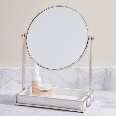 Modern Resin Stone Vanity Mirror - Nickel