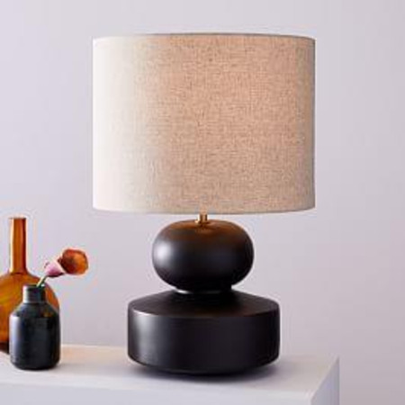 Modern Totem Table Lamp - Wide (Black)