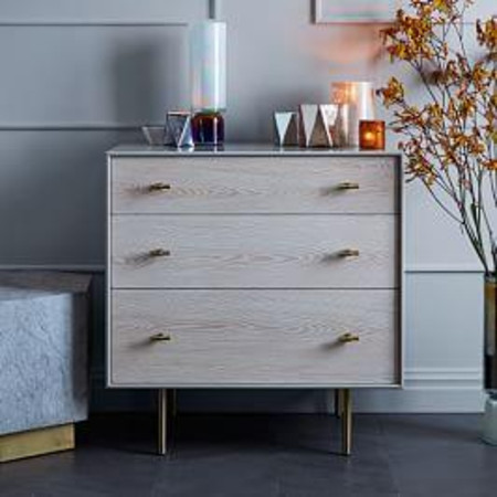 Modernist Wood + Lacquer 3-Drawer Dresser, Winter Wood