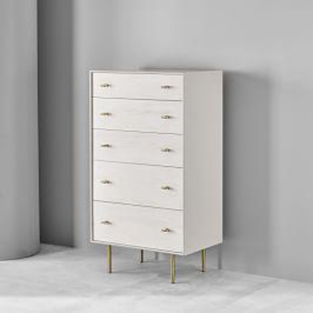 Modernist Wood + Lacquer 5-Drawer Dresser - Winter Wood