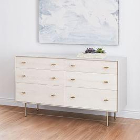 Modernist Wood + Lacquer 6-Drawer Dresser, Winter Wood