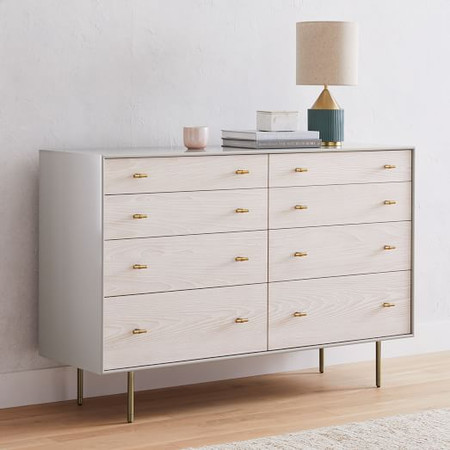 Modernist Wood & Lacquer 8-Drawer Dresser - Winter Wood