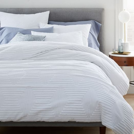 Organic Cotton Clipped Jacquard Diamond Quilt Cover and Pillowcases
