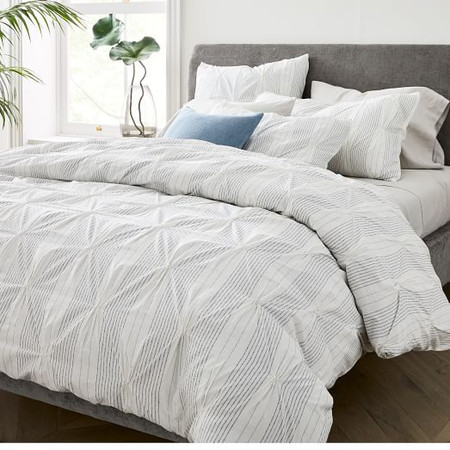 Organic Cotton Striped Pintuck Quilt Cover & Pillowcases