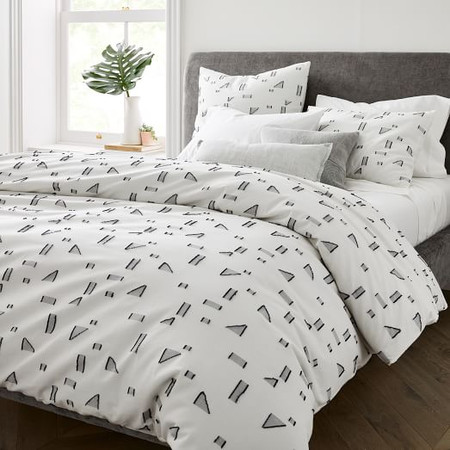 Organic Embroidered Mini Graphic Geo Quilt Cover & Pillowcases