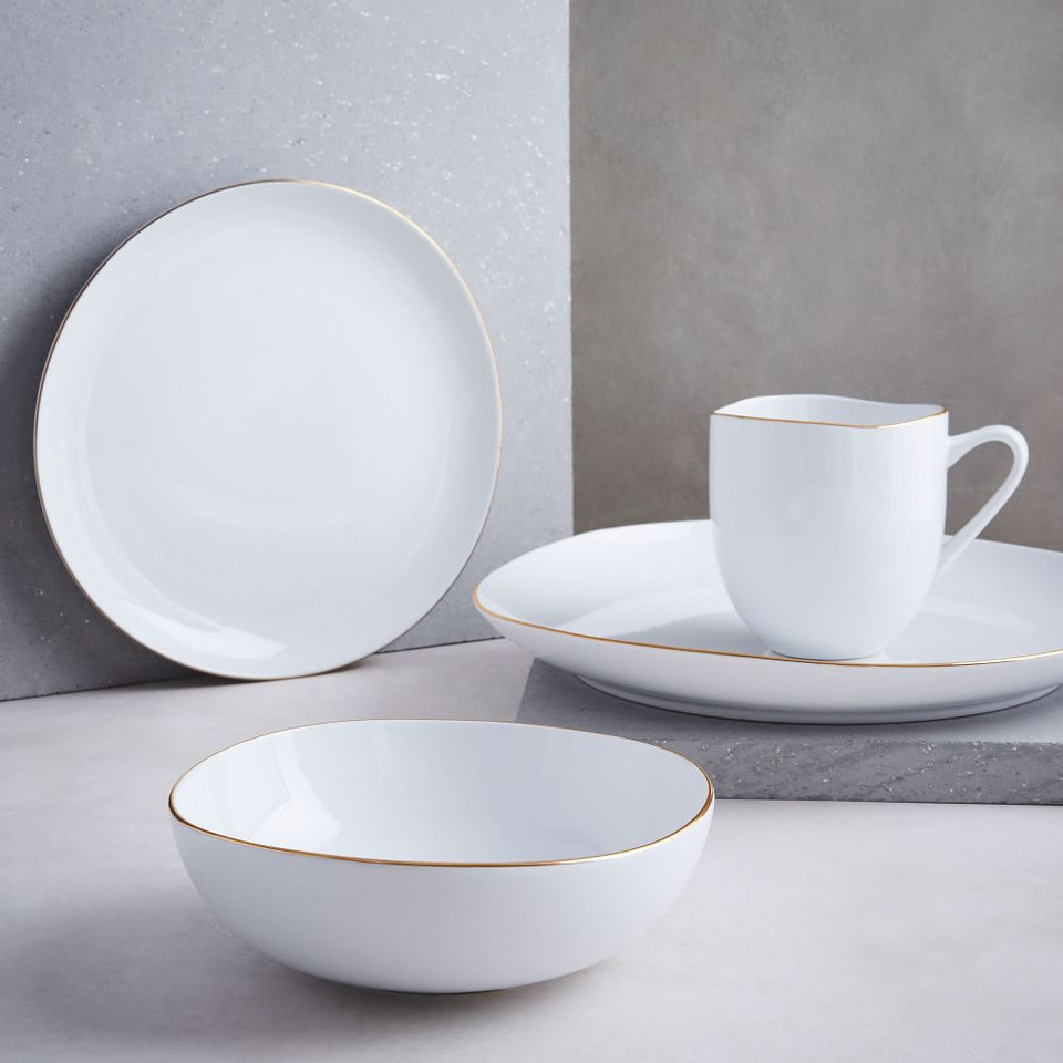 Organic Shaped Porcelain Dinnerware - Gold Rimmed