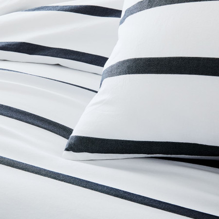 Organic Washed Cotton Percale Bold Stripe Quilt Cover & Pillowcases - Black/Stone White