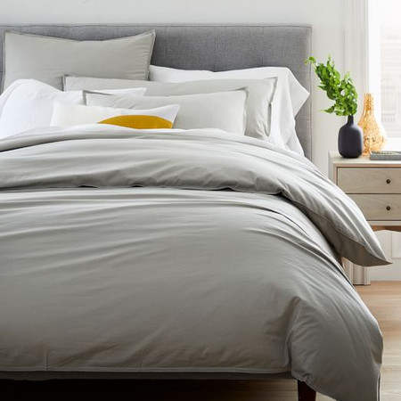 Organic Washed Cotton Percale Quilt Cover and Pillowcases - Platinum