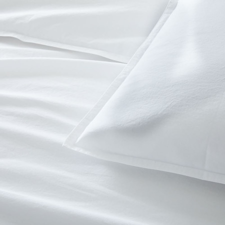 Organic Washed Cotton Percale Quilt Cover and Pillowcases - Stone White