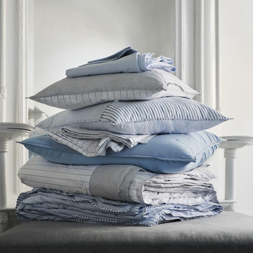 Organic Washed Cotton Stripe Quilt Cover + Pillowcases - Slate