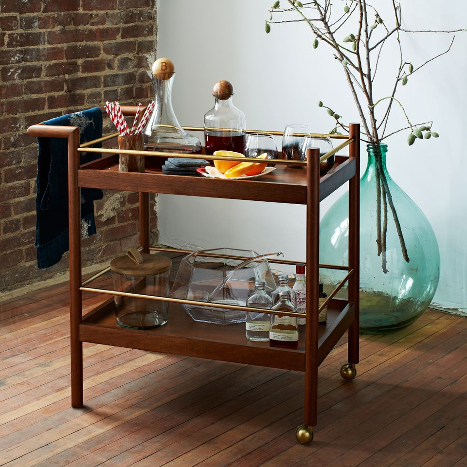 Mid-Century Bar Cart - Walnut