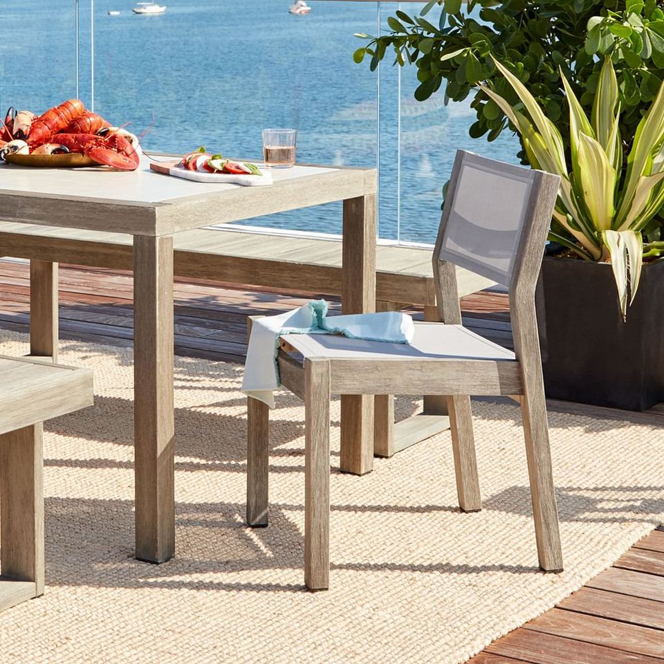 Portside Outdoor Textilene Dining Chair - Weathered Grey