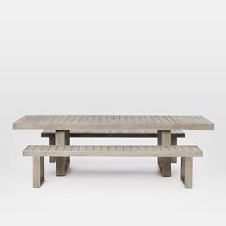 Portside Outdoor Expandable Dining Table + 2 Benches Set