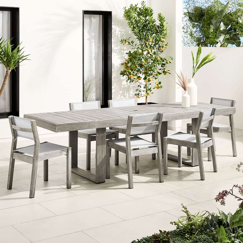 Portside Outdoor Expandable Dining Table + 6 Textilene Chairs Set