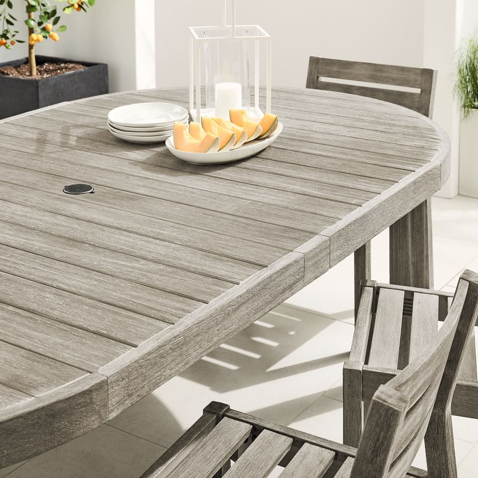 Portside Outdoor Round Expandable Dining Table - Weathered Grey
