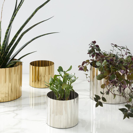 Pure Foundations Metal Tabletop Planters - Polished Brass