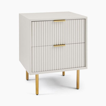 Quinn Lacquer Bedside Table - Haze/Antique Brass