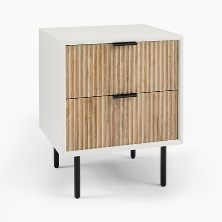 Quinn Wood Bedside Table - White/Antique Bronze