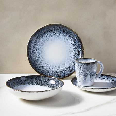 Reactive Glaze Dinnerware - Black/White