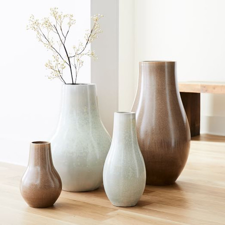 Reactive Glaze Large Floor Vases - White