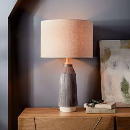Roar + Rabbit™ Ripple Ceramic Table Lamp - Large Narrow (Warm Grey)