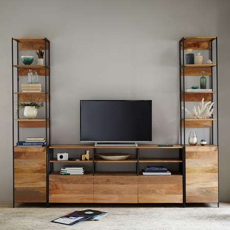 Industrial Modular Large Media Set With Open + Closed Storage (256.5 cm)