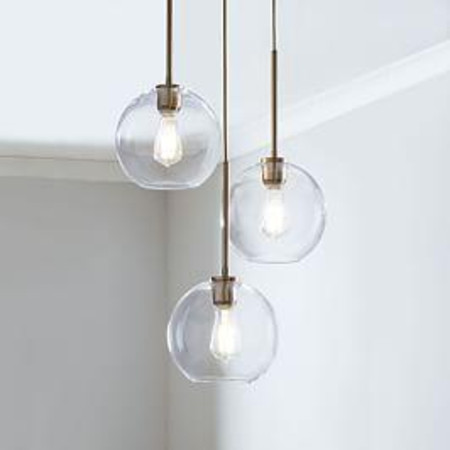 Sculptural Glass Globe 3-Light Chandelier - Small (Clear)