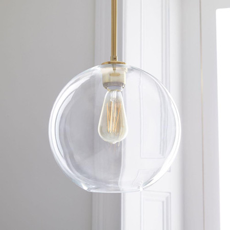 Sculptural Glass Globe Pendant - Clear