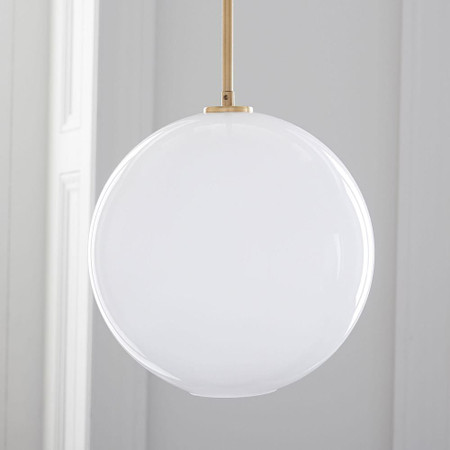 Sculptural Glass Globe Pendant - Milk