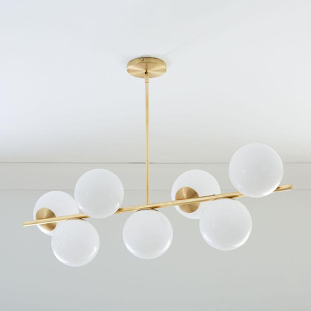 Sphere & Stem 7-Light Chandelier - Milk