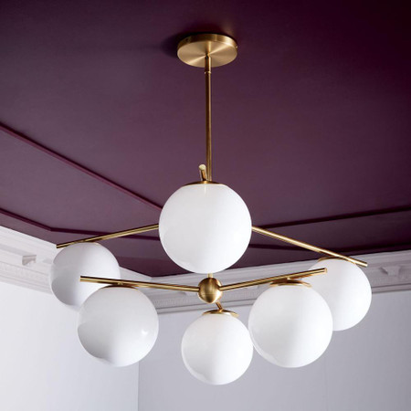 Sphere & Stem 6-Light Chandelier - Milk