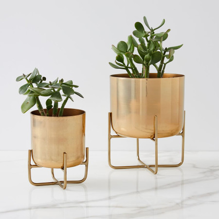 Spun Metal Tabletop Planters