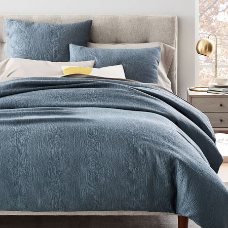 TENCEL™ Cotton Matelasse Quilt Cover & Pillowcases - Stormy Blue