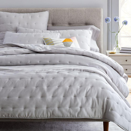 TENCEL™ Crescent Stitch Coverlet & Pillowcases - Frost Grey