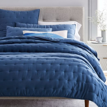 TENCEL™ Crescent Stitch Coverlet + Pillowcases - Light Indigo