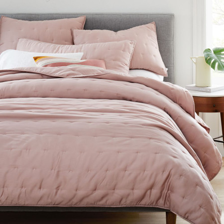 TENCEL™ Crescent Stitch Coverlet & Pillowcases - Adobe Rose